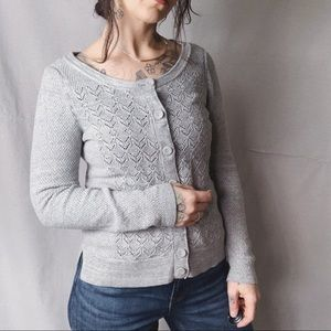 anthro SPARROW Pointelle Knit Cardigan Grey Small